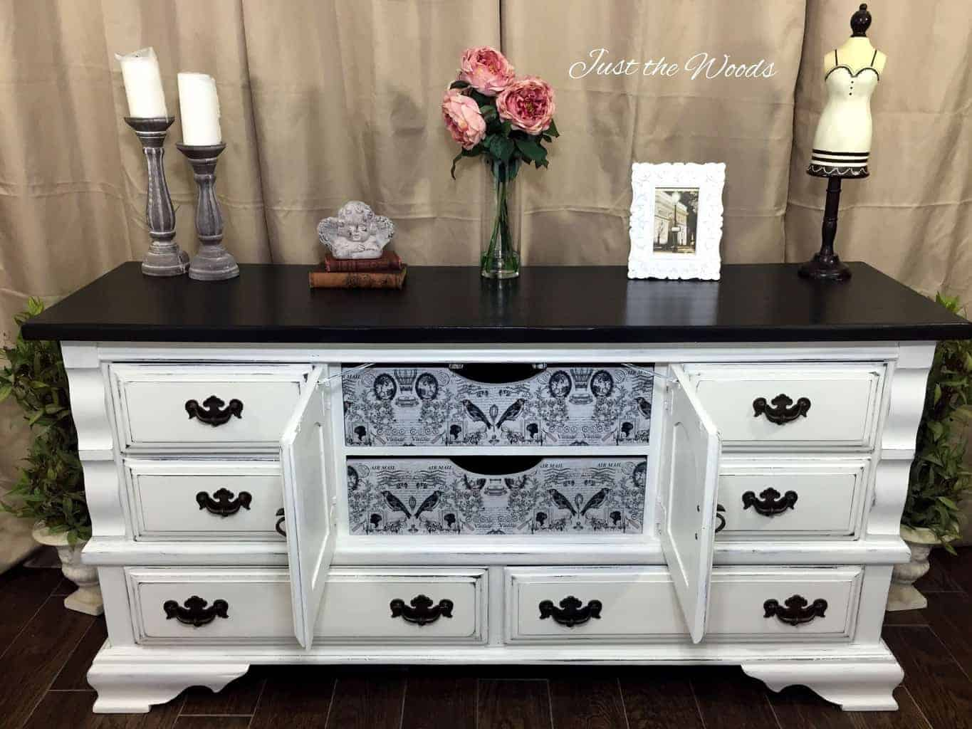 decoupage, shabby chic dresser, painted dresser, vintage furniture, white distressed dresser, white distressed furniture