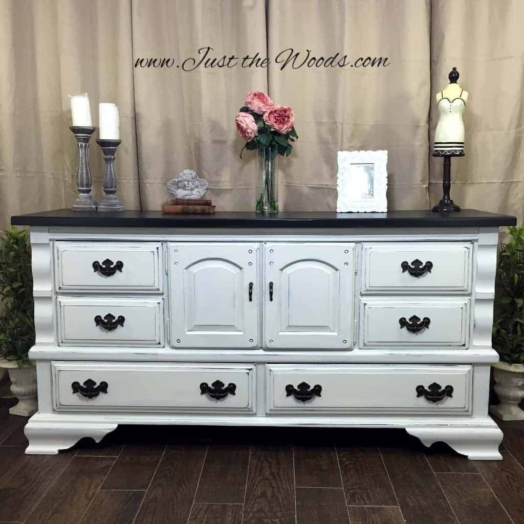 chalk paint, white distressed dresser, distressed white dresser, shabby chic, painted dresser, just the woods