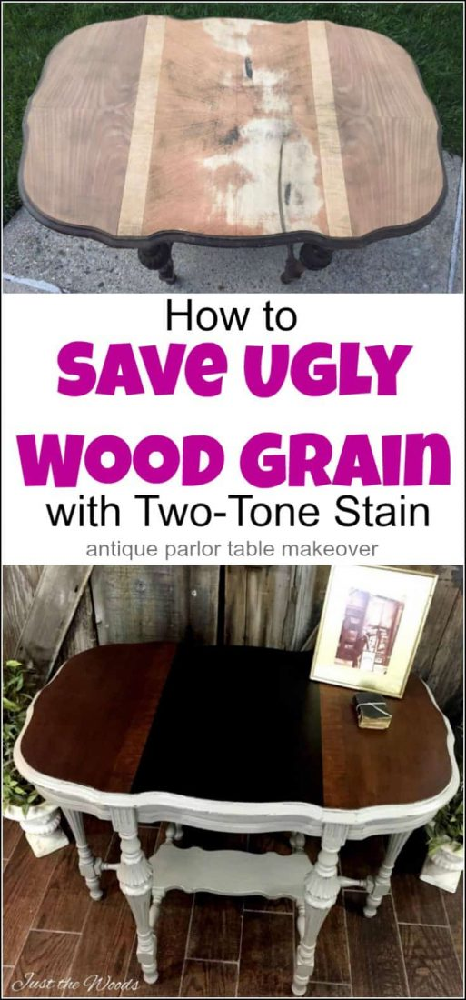 Victorian antique parlor table makeover with damaged wood grain. Save ugly wood grain with a two-tone stain on your next painted furniture project   antique table   parlor table   antique parlor table   old tables   antique wood table   Victorian parlor table  