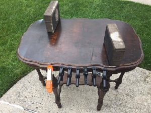 antique table, parlor table, vintage furniture, damaged antique table