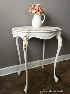 white and gold leaf, gold leaf, accent table, painted table