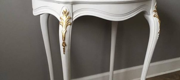 White and Gold Leaf Accent Table