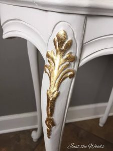 gold leaf, gold foil, painted table