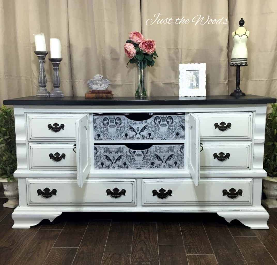 Hand Painted Dresser, Decoupaged Drawers, vintage dresser, painted furniture, white distressed dresser, decoupage, shabby chic