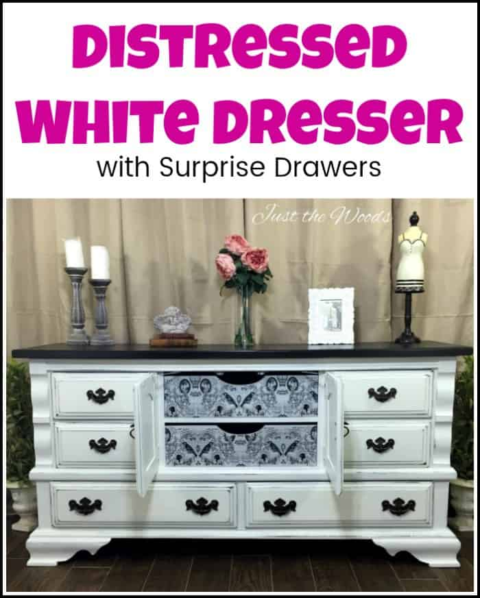 Vintage painted dresser with surprise decoupaged drawers. Distressed white dresser makeover in a shabby chic finish with dark brown top. #paintedfurniture #distressedwhitedresser #painteddresser #furnituremakeover #paintedfurnitureideas #paintedfurniturebeforeandafter #furniturepainting #decoupagefurniture #whitedistresseddresser #shabbychicdresser