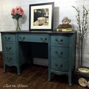 Painted Desk, Just the Woods, staten island, shabby chic, vintage style, vintage vanity, nyc