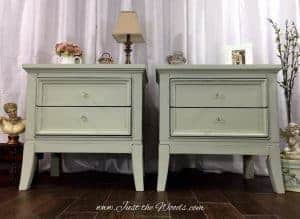 modern night stands, shabby chic, painted tables, mint, sage, chalk paint