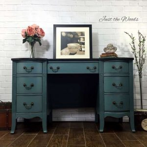 Painted Vintage Desk, painted vintage vanity, chalk paint, non toxic, memphis blue