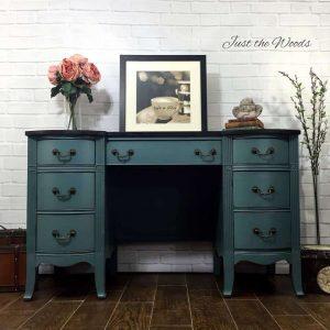 Painted Vintage Desk, painted vintage vanity, chalk paint, non toxic, memphis blue