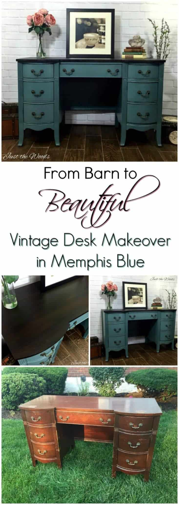 A vintage desk saved from an old barn in upstate New York received a royal treatment in Memphis Blue. This painted desk looks amazing after its painted furniture makeover. #paintedfurniture #painteddesk #furnituremakeover #paintedfurnitureideas #bluepainteddesk #lightbluepaintedfurniture