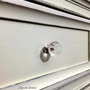 shabby chic, distressed dresser, chalk paint, mint, sage, crystal knobs