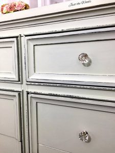 painted dresser, shabby chic dresser, crystal knobs, distressed, chalk paint
