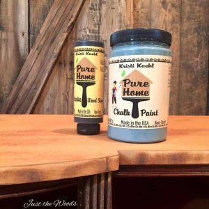 Kristi Kuehl, Pure Home Paint, Memphis Blue, chalk paint, painted desk, teak wood stain