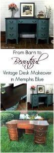 vintage desk, vintage vanity, painted furniture, painted blue