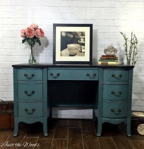 desk rescue, vintage desk, vintage vanity, painted desk, painted vanity, memphis blue