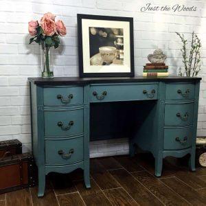painted desk, chalk paint, memphis blue, pure home paint, duncan phyfe, vanity, vintage