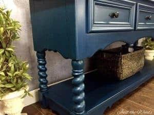 barley twist legs, thomasville sideboard, blue chalk paint, nyc, nj