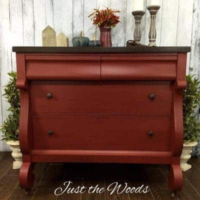 Hand Painted Rust Red Empire Buffet
