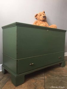 Antique Storage Chest To Toy Box Makeover by Just the Woods