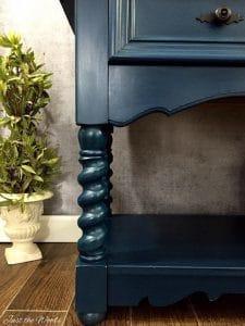 angelic blue, chalk paint, barley twist, thomasville, vintage, painted furniture