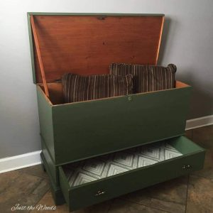 Antique Storage Chest Turned Into A Toy Box With Decoupaged Drawer