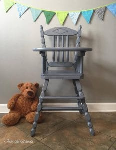 painted high chair, vintage high chair, non toxic paint, chalk paint