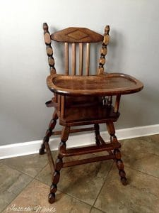 unfinished high chair, vintage high chair, high chair, painted high chair