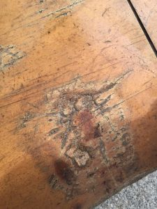 thomasville, sideboard, damaged wood, how to repair wood