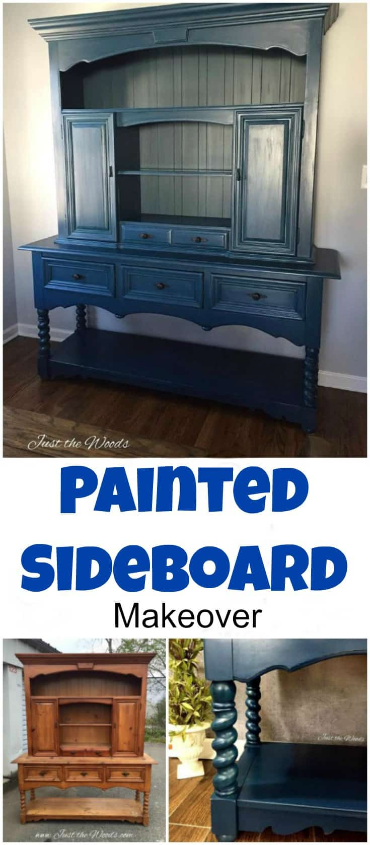 Thomasville sideboard hand painted in an angelic blue with teal highlights and black painted hardware. | painted sideboard | painted hutch | blue painted furniture | painted buffet | painted sideboards | painted sideboard and buffets |