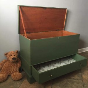 toy box, blanket chest, antique, storage trunk, green toy box, just the woods
