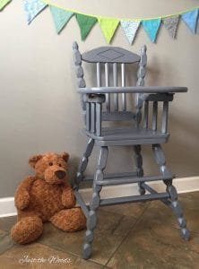 vintage high chair, painted high chair, child high chair, vintage high chair, non toxic, safe paint