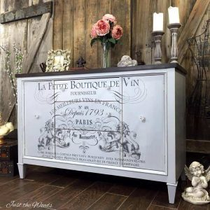 vintage buffet, image transfer, just the woods, french buffet, french chic, painted furniture