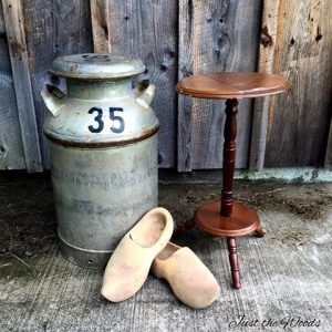 Decorate with an Old Milk Can by Just the Woods, vintage milk jug, wooden shoes