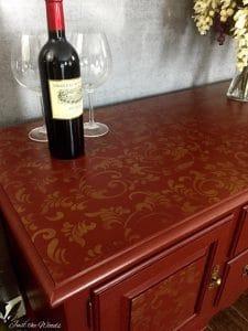 stencil on furniture, painted buffet, gold stencil, metallic gold
