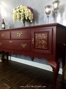 Cranberry Painted Ethan Allen Buffet with Subtle Gold Stencil