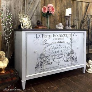 French Image Transfer on Vintage Buffet, gray buffet, image transfer, cloudy gray paint, chalk paint