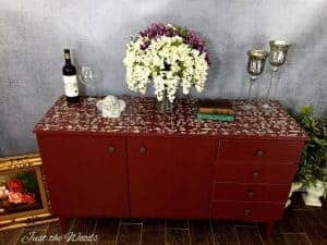 Painted, Cranberry Credenza, Stencil Top furniture, chalk paint, nyc, nj