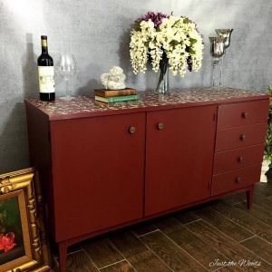Painted Vintage Furniture, Just the Woods, stenciled furniture, nyc, floral stencil, media console,