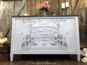 french script, image transfer, painted furniture, just the woods, staten island