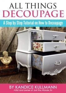 All Things Decoupage, decoupage furniture, painted furniture, just the woods, ebook