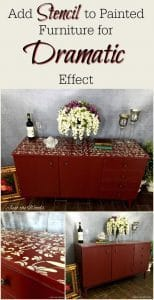 add-stencil-to-furniture, painted buffet