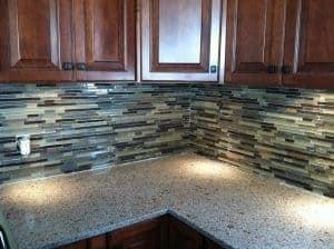 Mosaic glass and tile back splash