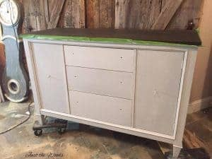 vintage buffet, painted buffet, painted layers, cloudy finish