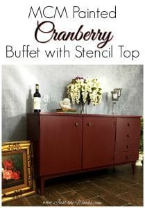 Painted Cranberry Credenza with Floral Stencil Top