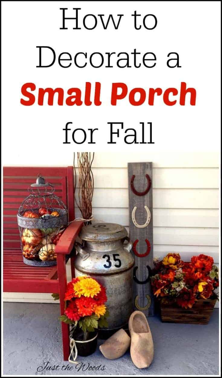 Don't let a small porch get you down. See how to decorate a small porch for fall with an old milk can, wooden shoes, faux flowers and a wire bird cage.