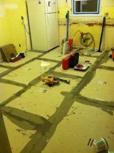 Mud floor, kitchen remodel, just the woods