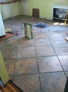 lay tile, tile floor, how to lay tile flooring, kitchen remodel