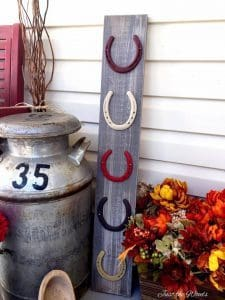 horse shoes and fall decor