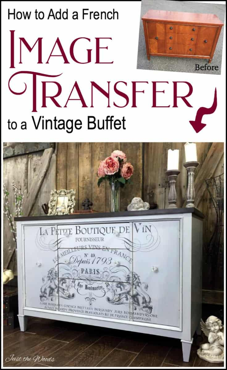 Add a French Image transfer to a vintage buffet. Painted furniture with a stain top and cloudy finish. IOD image transfer brings added character to the makeover #imagetransfers #howtoapplyimagestowood #furnituretransfers #IODtransfers #imagestowood #paintedfurnituretechniques