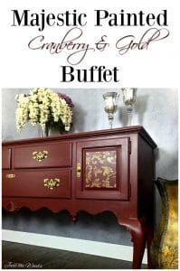 majestic cranberry ethan allen buffet with subtle gold stencil. Black Bedroom Furniture Sets. Home Design Ideas